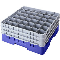Cambro 36S958168 Blue Camrack Customizable 36 Compartment 10 1/8 inch Glass Rack