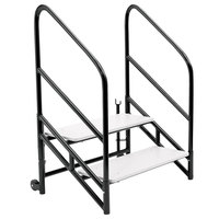 National Public Seating STP24 Stage Steps with Guardrail for 24 inch High Stage