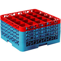 Carlisle RG25-4C410 OptiClean 25 Compartment Glass Rack with 4 Color-Coded Extenders - Red / Carlisle Blue