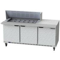 Beverage Air SPE72HC-18M 72 inch 3 Door Mega Top Refrigerated Sandwich Prep Table