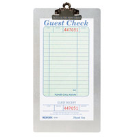 Menu Solutions ALSIN59-CLIP Single Panel Aluminum Clipboard Check Presenter with Brushed Finish - 4 3/4 inch x 8 3/4 inch
