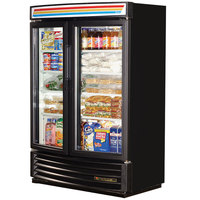 True GDM-35SL-RF-LD Black Refrigerated Glass Door Merchandiser Radius Front - Slim Line