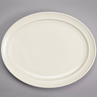Homer Laughlin HL3527000 Gothic 11 1/2 inch x 8 3/8 inch Ivory (American White) Undecorated Oval China Platter - 12/Case