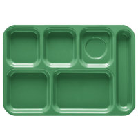 GET TR-152 10 inch x 14 1/2 inch Rainforest Green ABS Plastic Right Hand 6 Compartment Tray - 12/Pack