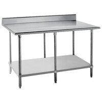Advance Tabco KSS-2410 24 inch x 120 inch 14 Gauge Work Table with Stainless Steel Undershelf and 5 inch Backsplash