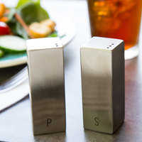 Tablecraft 167 1.5 oz. Square Stainless Steel Salt and Pepper Shaker Set - 6/Box
