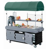 Cambro KVC856C426 CamKiosk Black Base with Granite Gray Door Customizable Vending Cart with 6 Wells and Canopy