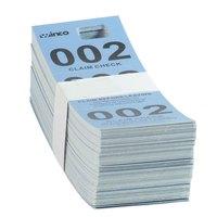 Blue 3 Part Paper Coat Room Check   - 500/Box