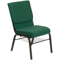 Flash Furniture XU-CH-60096-GN-BAS-GG Green Dot Patterned 18 1/2 inch Wide Church Chair with Communion Cup Book Rack - Gold Vein Frame