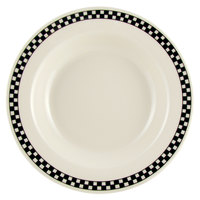 Homer Laughlin Black Checkers 12.75 oz. Wide Rim Creamy White / Off White China Soup Bowl 24 / Case