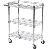 Luxor / H. Wilson LICWT3014 Three Shelf Wire Mail Cart Adjustable - 14 inch x 24 inch x 32 inch