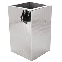 American Metalcraft DWWC1 Square Double Wall Hammered Stainless Steel One-Bottle Chiller - 5 1/4 inch x 5 1/4 inch x 8 3/8 inch