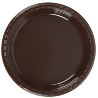 Creative Converting 28303811 7 inch Chocolate Brown Plastic Plate - 20 / Pack