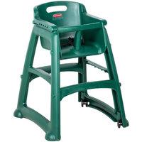 Rubbermaid FG780508DGRN Green Sturdy Chair Restaurant High Chair with Wheels - Assembled