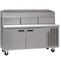 Delfield 18672PDLV 72 inch Two Door Refrigerated Pizza Prep Table with Dual LiquiTec Raised Rails