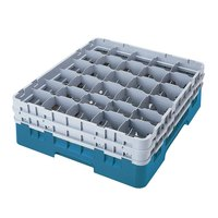 Cambro 30S638414 Camrack Teal Customizable 30 Compartment 6 7/8 inch Glass Rack