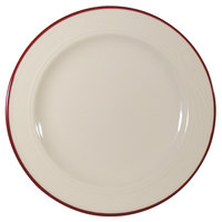 Homer Laughlin 1613609 Lyrica Lydia Maroon 10 5/8 inch Off White China Plate   - 12/Case