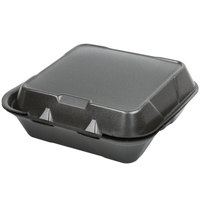 Genpak SN243-BK 8 inch x 8 inch x 3 inch Black 3-Compartment Hinged Lid Foam Container - 100/Pack