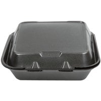 Genpak SN243-BK 8 inch x 8 inch x 3 inch Black Foam 3 Compartment Hinged Lid Container - 100/Pack