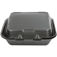 Genpak SN243-BK 8 inch x 8 inch x 3 inch Black Foam 3 Compartment Hinged Lid Container 100 / Pack   - 100/Pack