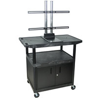 Luxor LE40CWTUD Flat Panel TV Cart with 2 Shelves and Security Cabinet for Up to 50 inch Screens
