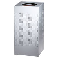 Rubbermaid FGSC14EPLSM Silhouettes Metallic Silver Steel Designer Waste Receptacle - 24 Gallon