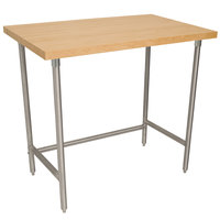 Advance Tabco TH2S-364 Wood Top Work Table with Stainless Steel Base - 36 inch x 48 inch