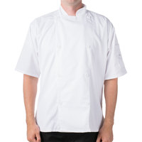 Mercer Culinary M61012WHM Genesis Unisex 40 inch Medium Customizable White Double Breasted Traditional Neck Short Sleeve Chef Jacket with Traditional Buttons