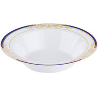 Fineline 4912-WHBG Signature Blu 12 oz. White with Blue and Gold Rim Bowl - 120/Case