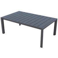 Grosfillex US004288 Sunset 24 inch x 40 inch Volcanic Black Aluminum Cocktail Table