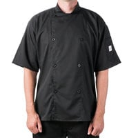 Mercer M61012BKL Genesis Unisex 44 inch Large Customizable Black Double Breasted Traditional Neck Short Sleeve Chef Jacket with Traditional Buttons