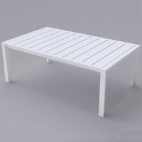 Grosfillex US004096 Sunset 24 inch x 40 inch Glacier White Aluminum Cocktail Table