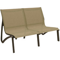 Grosfillex US002599 Sunset Cognac / Fusion Bronze Resin Outdoor Sling Loveseat - 2/Pack