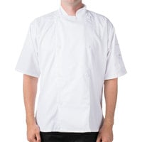 Mercer Culinary M61012WH8X Genesis Unisex 76 inch 8X Customizable White Double Breasted Traditional Neck Short Sleeve Chef Jacket with Traditional Buttons