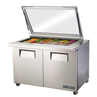 True TSSU-48-18M-B-FGLID-HC 48 inch 2 Door Mega Top Hinged Glass Lid Refrigerated Sandwich Prep Table