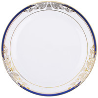 Fineline 4907-WHBG Signature Blu 7 1/2 inch White with Blue and Gold Rim Salad Plate - 120/Case