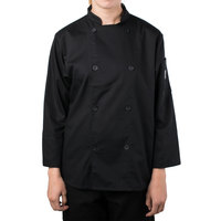 Mercer M61030BKM Genesis Women's 36 inch Medium Black Double Breasted Traditional Neck Long Sleeve Chef Jacket with Traditional Buttons