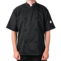 Mercer Culinary Genesis Unisex 64 inch 5X Customizable Black Double Breasted Traditional Neck Short Sleeve Chef Jacket with Cloth Knot Buttons
