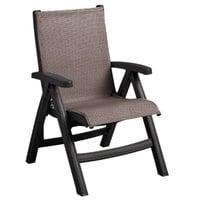 Grosfillex US355002 Belize Gray Tweed / Charcoal Midback Folding Resin Outdoor Sling Chair - 2/Pack
