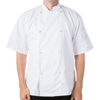 Mercer Culinary M61022WHM Genesis Unisex 40 inch Medium Customizable White Double Breasted Traditional Neck Short Sleeve Chef Jacket with Cloth Knot Buttons