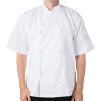 Mercer M61022WHL Genesis Unisex 44 inch Large Customizable White Double Breasted Traditional Neck Short Sleeve Chef Jacket with Cloth Knot Buttons