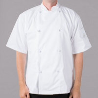 Mercer Culinary M61022WHS Genesis Unisex 36 inch Small Customizable White Double Breasted Traditional Neck Short Sleeve Chef Jacket with Cloth Knot Buttons