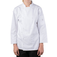 Mercer M61030WHS Genesis Women's 34 inch Small Customizable White Double Breasted Traditional Neck Long Sleeve Chef Jacket with Traditional Buttons