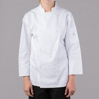 Mercer Culinary M61030WHS Genesis Women's 34 inch Small Customizable White Double Breasted Traditional Neck Long Sleeve Chef Jacket with Traditional Buttons