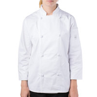 Mercer Culinary M61040WHM Genesis Women's 36 inch Medium Customizable White Double Breasted Traditional Neck Long Sleeve Chef Jacket with Cloth Knot Buttons