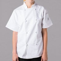 Mercer Culinary Genesis Women's 49 inch 3X Customizable White Double Breasted Traditional Neck Short Sleeve Chef Jacket with Cloth Knot Buttons
