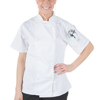Mercer Culinary M61032WHS Genesis Women's 34 inch Small Customizable White Double Breasted Traditional Neck Short Sleeve Chef Jacket with Traditional Buttons