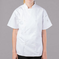 Mercer Culinary Genesis Women's 31 inch XXS Customizable White Double Breasted Traditional Neck Short Sleeve Chef Jacket with Traditional Buttons