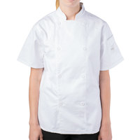 Mercer Culinary M61032WHM Genesis Women's 36 inch Medium Customizable White Double Breasted Traditional Neck Short Sleeve Chef Jacket with Traditional Buttons