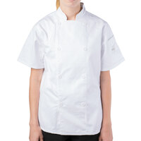 Mercer M61032WHL Genesis Women's 38 inch Large White Double Breasted Traditional Neck Short Sleeve Chef Jacket with Traditional Buttons